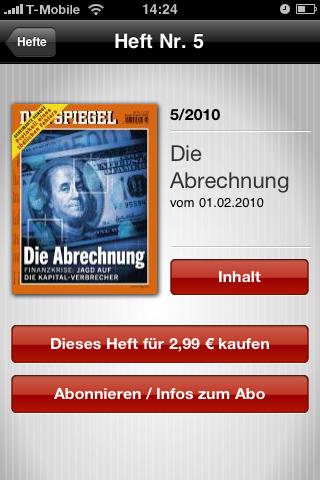 Der Spiegel: Printausgabe als Bezahlinhalt fürs iPhone -