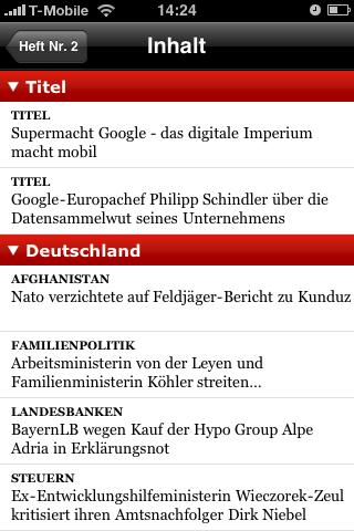 Der Spiegel: Printausgabe als Bezahlinhalt fürs iPhone - Inhaltsverzeichnis