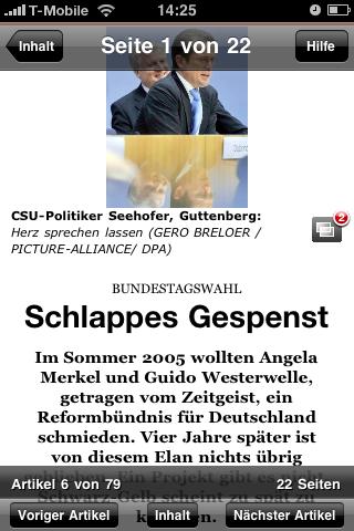 Der Spiegel: Printausgabe als Bezahlinhalt fürs iPhone - Ansicht eines Beitrags