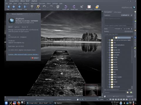 Das neue Layout des Bildeditors der Bildverwaltung Digikam.