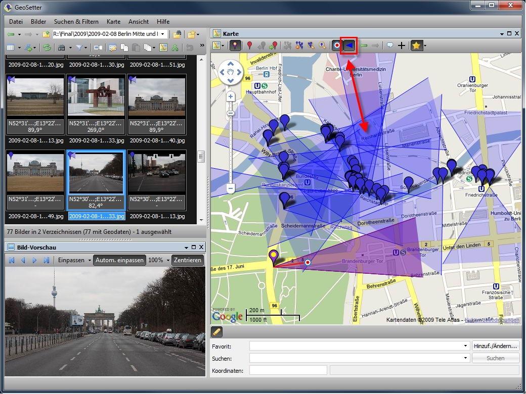 Geosetter 3.3.0 speichert nachträglich Blickrichtung im Foto - Geosetter mit Blickrichtung mehrerer Fotos auf der Karte