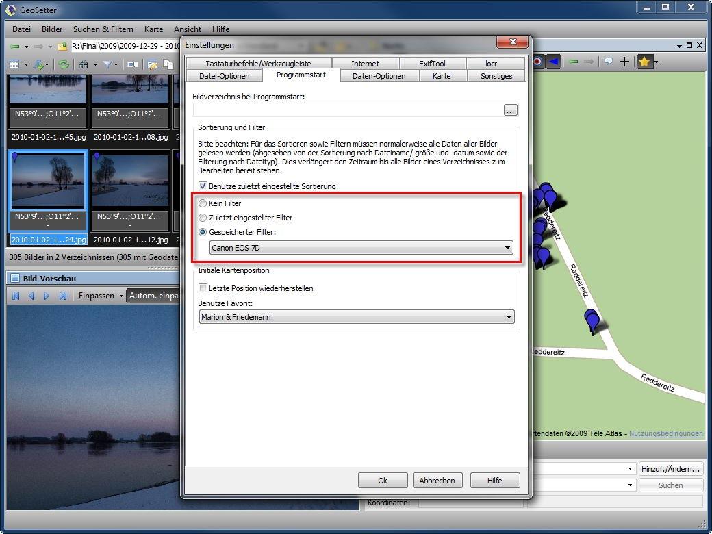 Geosetter 3.3.0 speichert nachträglich Blickrichtung im Foto - Geosetter mit Filtern auf einem bestimmten Kameratyp