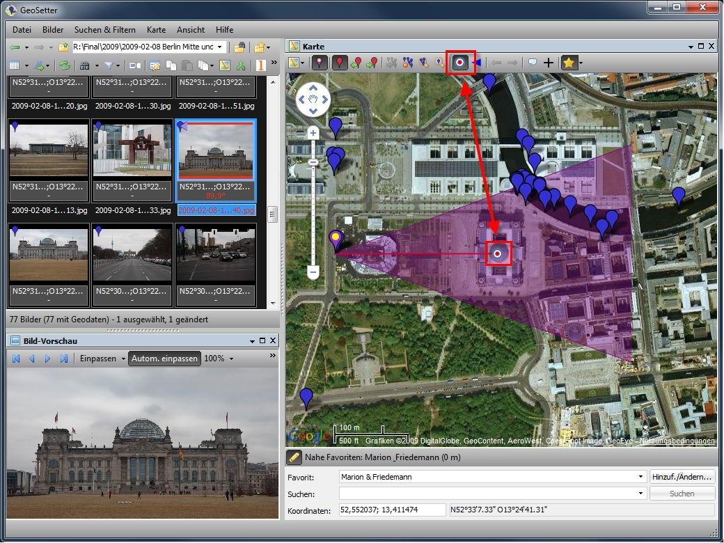 Geosetter 3.3.0 speichert nachträglich Blickrichtung im Foto -