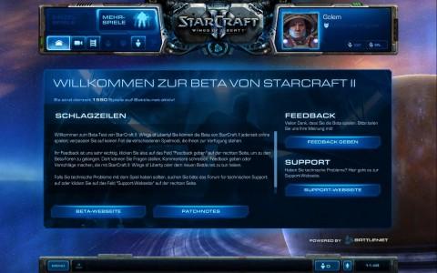 Starcraft 2: eines der Mehrspielermenüs