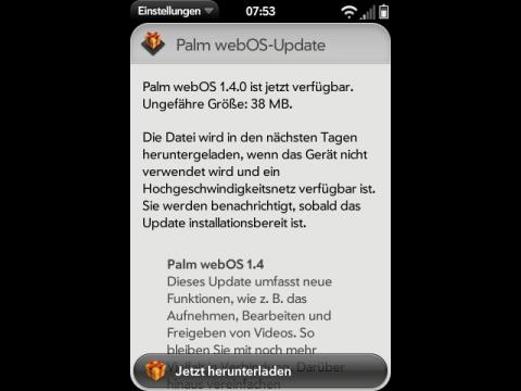 WebOS 1.4 - Updatebenachrichtigung