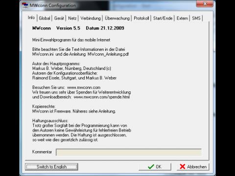 MWConn - WWAN-Einwahlsoftware für Windows.