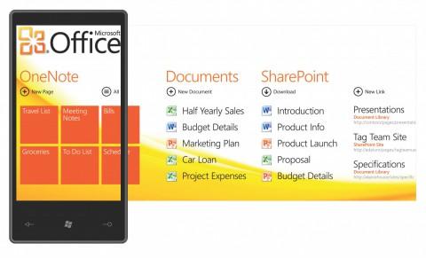 Officescreen von Windows Phone alias Windows Mobile 7