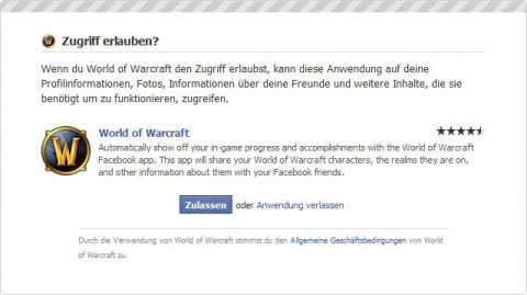 Die WoW-Applikation auf Facebook