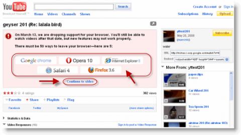Youtube drängt auf die Nutzung moderner Browser.