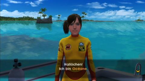 Océane, die Tochter des Skippers, testet den Spieler bei einem ersten Tauchgang.