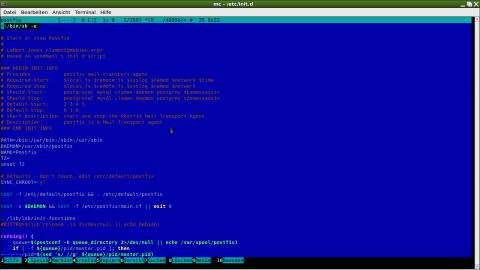 Der integrierte Editor mcedit bietet eine Syntaxhervorhebung für Skriptsprachen.