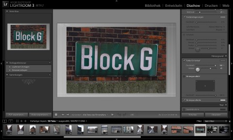 Adobe Photoshop Lightroom 3 Beta 2 - Diashow-Modul