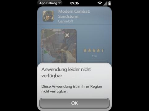 Bezahlfunktion im deutschen App Catalog: Fehlermeldung