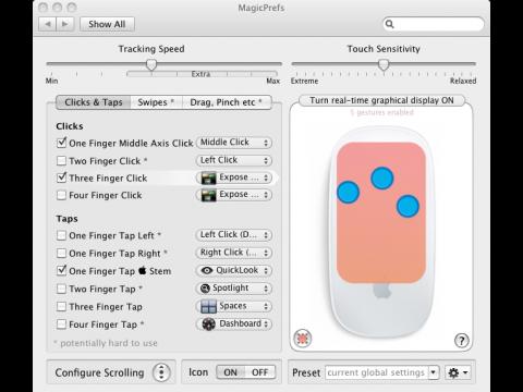 Magicprefs ist eine Erweiterung für Mac OS X. In Orange zu sehen ist der definierte Bereich für den Multitouch-Klick.