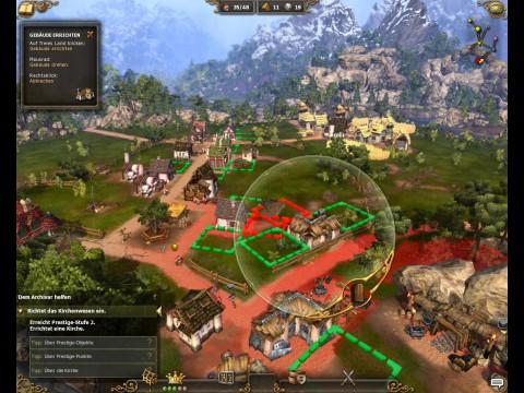 Per Mausrad verändert der Spieler die Ausrichtung von Gebäuden.