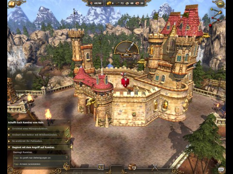 Die Prozentzahl über dem Schloss zeigt, wie lange es bis zur Übernahme dauert.