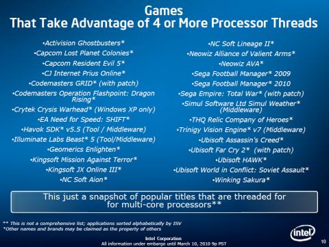 Intels Spiele-Liste mit mehr als vier Threads
