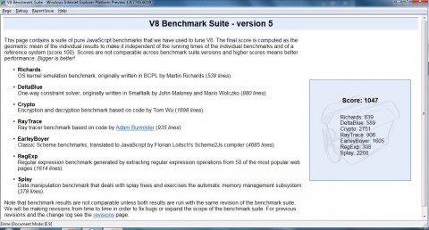 Internet Explorer 9 - V8-Benchmark
