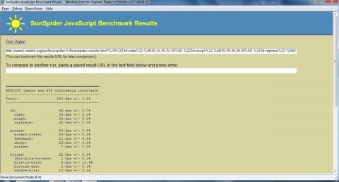 Internet Explorer 9 - Sunspider-Benchmark