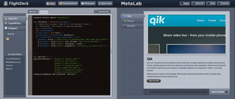 Mozilla Jetpack SDK (links) und Metalabs Qik (rechts)