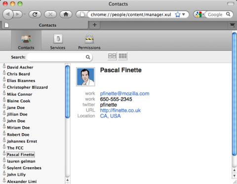 Kontaktansicht im Browser