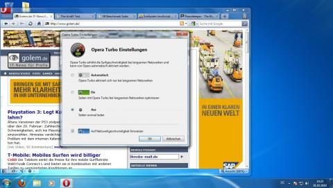 Opera 10.50 - Turbomodus-Einstellungen