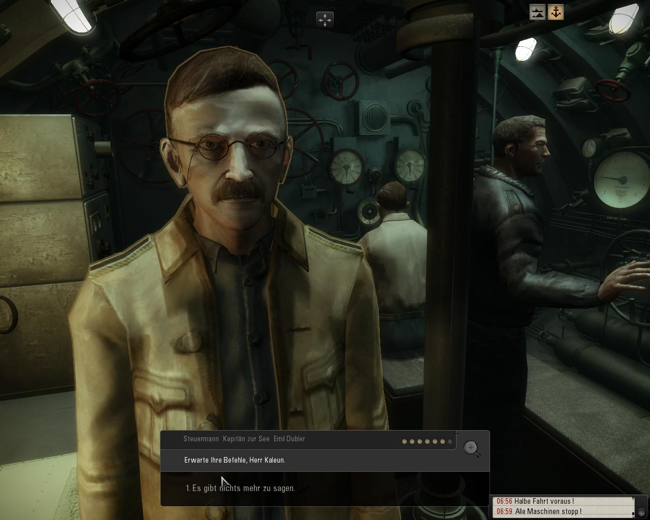 Spieletest: Silent Hunter 5 - spielerische Untiefen - Dialog mit einem Kameraden im U-Boot