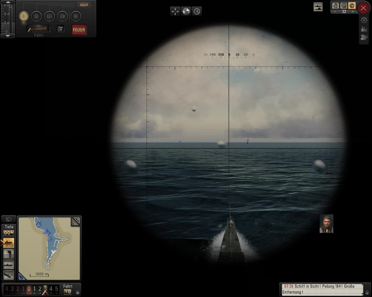 Spieletest: Silent Hunter 5 - spielerische Untiefen - Blick durch das Periskop