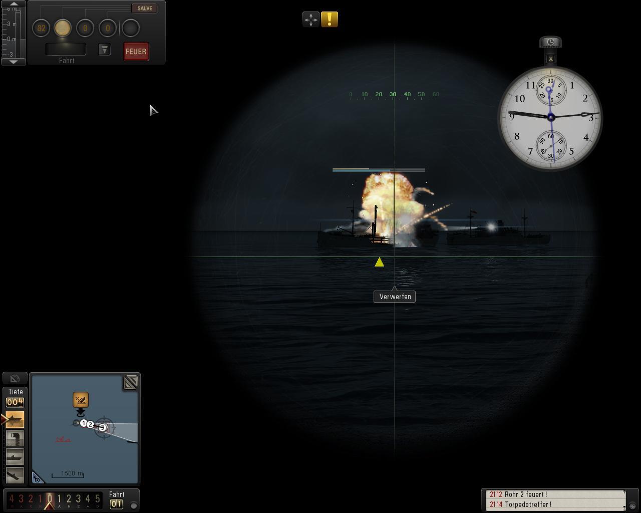 Spieletest: Silent Hunter 5 - spielerische Untiefen - Treffer: Feindliches Schiff nach Torpedoeinschlag