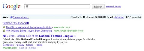 Stars in Search verknüpft Suche mit Bookmarks.