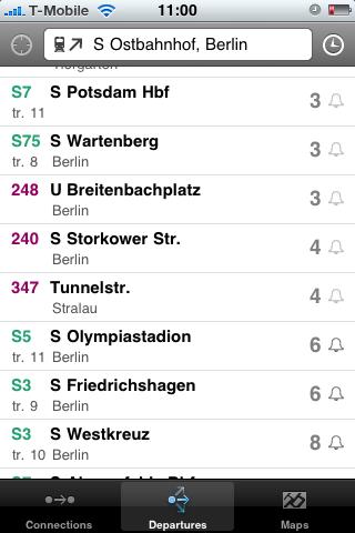 Fahrinfo: Bus- und Bahnfahrpläne auf dem iPhone - S-Bahnen und Busse, die am Ostbahnhof abfahren