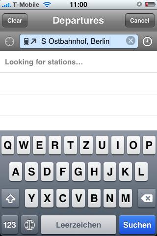 Fahrinfo: Bus- und Bahnfahrpläne auf dem iPhone - Schwer zu sehen: Hier wurde das Fadenkreuz angetippt.