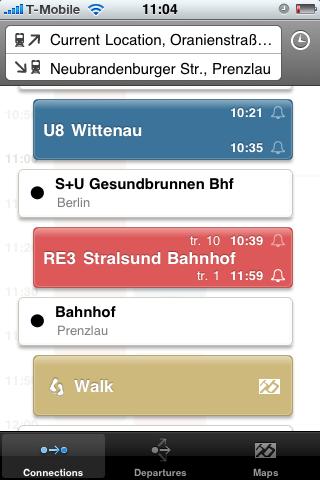 Fahrinfo: Bus- und Bahnfahrpläne auf dem iPhone - Mit der U-Bahn zum Gesundbrunnen und dann in den Regional Express 3 nach Prenzlau