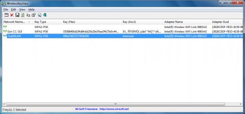 Wireless Keyview: WLAN-Schlüssel, die über externe Software wie Intels WLAN-Verwaltungssoftware oder, wie hier im zweiten Eintrag, mit Apples Airport Utility gespeichert werden, kann Wireless Keyview nicht auslesen. Das Test-WLAN wurde mit dem Windows-Verbindungsmanager eingetragen und ist damit für das Werkzeug sichtbar.