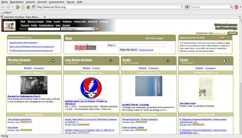 Die Webseite des Internet Archives