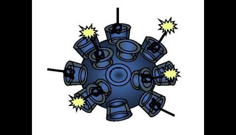 Schematische Darstellung des Nanotransporters (Grafik: Caltech/Derek Bartlett)