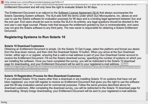 Der neue Lizenzvertrag für Solaris 10