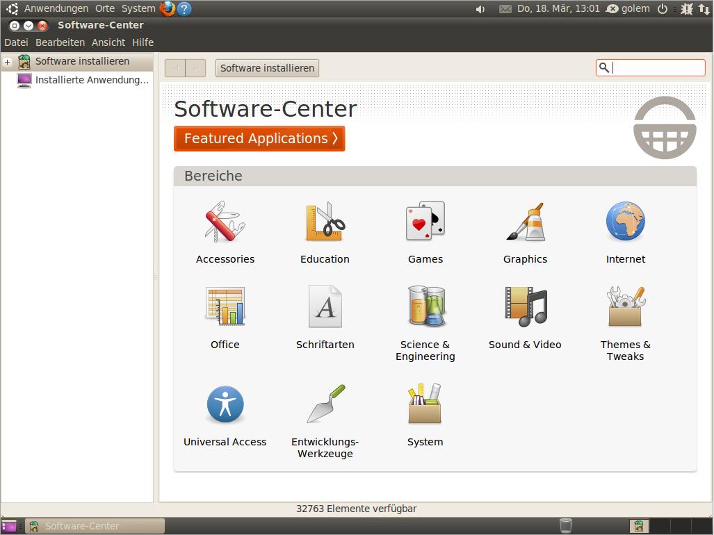 Ubuntu Lucid Lynx als Beta 2 veröffentlicht - Das Software-Center bietet weitere Programme zur Installation aus dem Internet an.