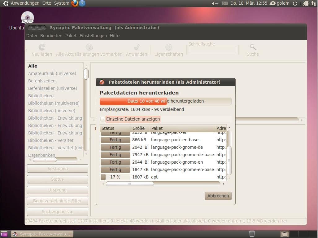 Ubuntu Lucid Lynx als Beta 2 veröffentlicht - Auf den bisherigen Paketmanager Synaptic haben die Entwickler dennoch nicht verzichtet.