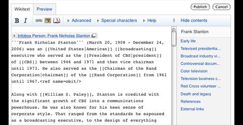 Layout der neuen Editieren-Seite mit Werkzeugleiste (Bild: Wikimedia Foundation)