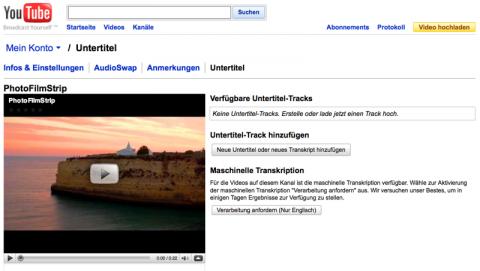 Youtube - automatische Untertitelgenerierung durch Spracherkennung