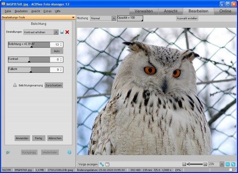 ACDSee Photo Manager 12 - Bearbeitung (Belichtung) (Foto: Andreas Donath)