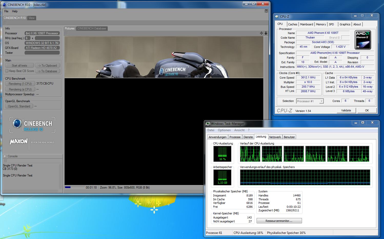 Test: Phenom II X6 1090T - AMD holt mit 6-Kerner auf - Cinebench R10 auf einem Kern, wenn der Turbo hochdreht