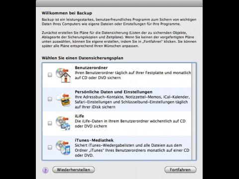 Apple Backup 3.2 - Datensicherungspläne für ausgewählte Objekte