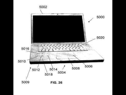Apple-Patentantrag 20100103116 - durchleuchtete Aluoberfläche und Touchscreen-Buttons