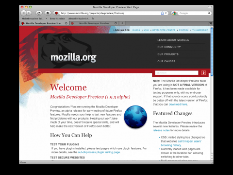 Mozilla Developer Preview 1.9.3 Alpha 4