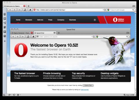 Opera 10.52 unter Mac OS X