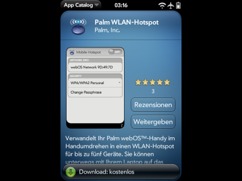 Palm Mobile Hotspot im App Catalog