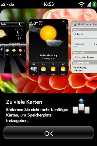Test: Pre Plus ist das bessere, aber teurere Pre-Smartphone - WebOS-Fehlermeldung: zu viele Karten offen