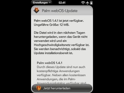WebOS 1.4.1 - Updatebenachrichtigung